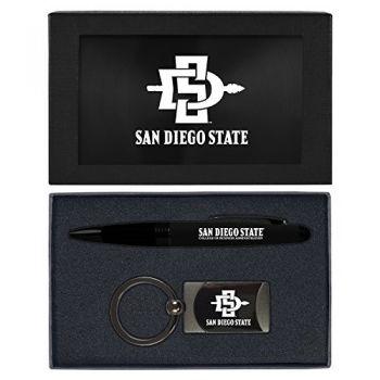 San Diego State University -Executive Twist Action Ballpoint Pen Stylus and Gunmetal Key Tag Gift Set-Black