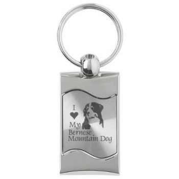 Keychain Fob with Wave Shaped Inlay  - I Love My Bernese Mountain Dog