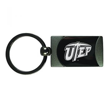 The University of Texas at El Paso -Two-Toned gunmetal Key Tag-Gunmetal