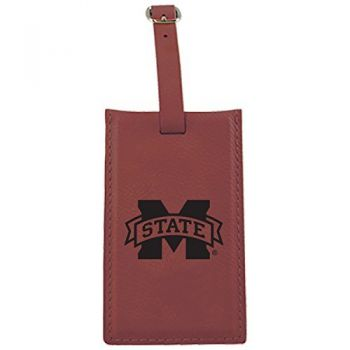 Mississippi State University -Leatherette Luggage Tag-Burgundy