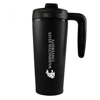 Washington State University -16 oz. Travel Mug Tumbler with Handle-Black