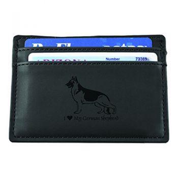 Slim Wallet with Money Clip  - I Love My German Shepard