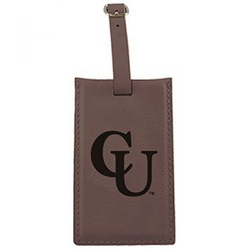 Campbell University -Leatherette Luggage Tag-Brown