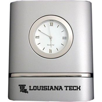 Louisiana Tech University- Two-Toned Desk Clock -Silver