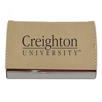 Velour Business Cardholder-Creighton University-Tan
