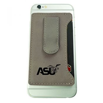Alabama State University -Leatherette Cell Phone Card Holder-Tan