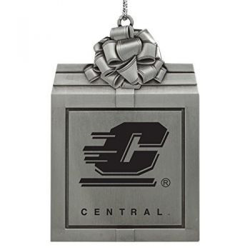 Central Michigan University -Pewter Christmas Holiday Present Ornament-Silver
