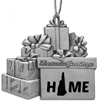 New Hampshire-State Outline-Home-Pewter Gift Package Ornament-Silver