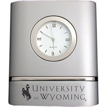 University of Wyoming- Two-Toned Desk Clock -Silver