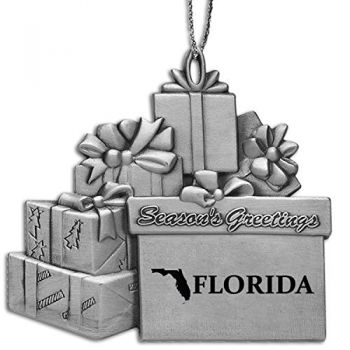 Florida-State Outline-Pewter Gift Package Ornament-Silver