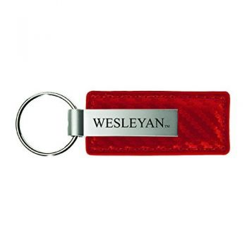 Wesleyan University-Carbon Fiber Leather and Metal Key Tag-Red