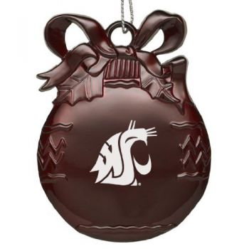 Washington State Universtiy-Pewter Christmas Tree Ornament - Burgundy