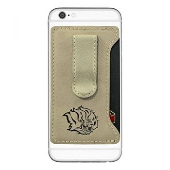 University of Arkansas at Pine Buff -Leatherette Cell Phone Card Holder-Tan