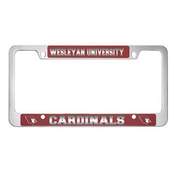 Wesleyan University -Metal License Plate Frame-Red