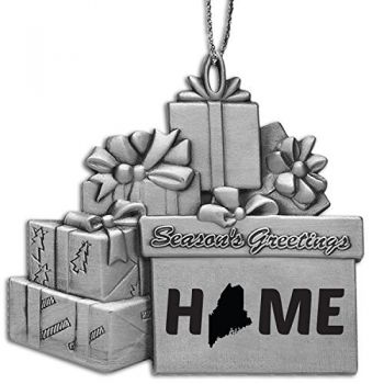 Maine-State Outline-Home-Pewter Gift Package Ornament-Silver