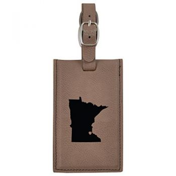 Minnesota-State Outline-Heart-Leatherette Luggage Tag -Brown