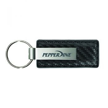 Pepperdine University-Carbon Fiber Leather and Metal Key Tag-Grey