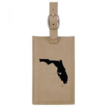 Florida-State Outline-Heart-Leatherette Luggage Tag -Tan