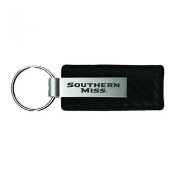University of Southern Mississippi-Carbon Fiber Leather and Metal Key Tag-Black