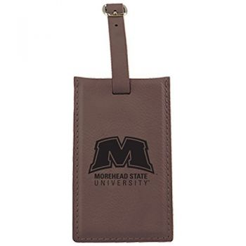 Morehead State University -Leatherette Luggage Tag-Brown