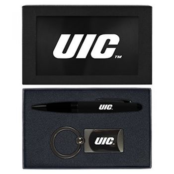 University of Illinois at Chicago-Executive Twist Action Ballpoint Pen Stylus and Gunmetal Key Tag Gift Set-Black
