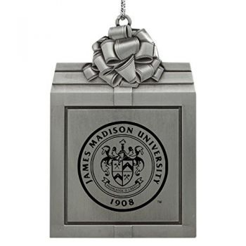 James Madison University-Pewter Christmas Holiday Present Ornament-Silver