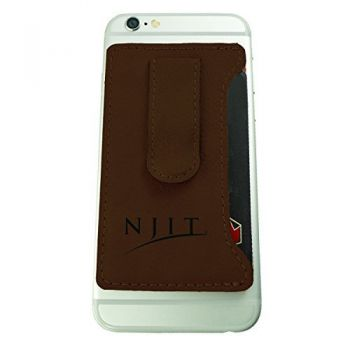 New Jersey institute of Technology-Leatherette Cell Phone Card Holder-Brown