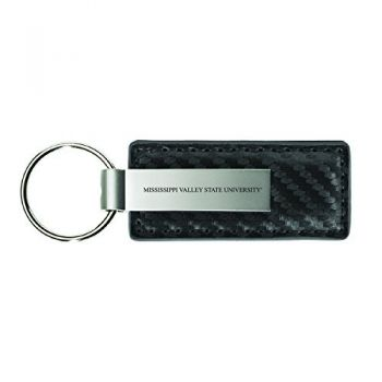 Mississippi Valley State University-Carbon Fiber Leather and Metal Key Tag-Grey
