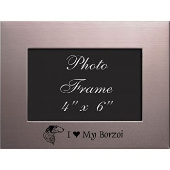 4 x 6  Metal Picture Frame  - I Love My Borzoi