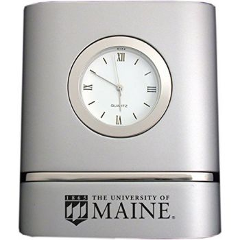 University of Maine- Two-Toned Desk Clock -Silver