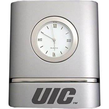 University of Illinois at Chicago- Two-Toned Desk Clock -Silver