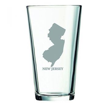 16 oz Pint Glass  - New Jersey State Outline - New Jersey State Outline