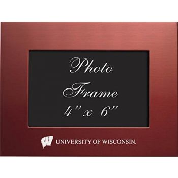 University of Wisconsin - 4x6 Brushed Metal Picture Frame - Red