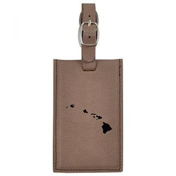 Hawaii-State Outline-Heart-Leatherette Luggage Tag -Brown