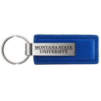Montana State University - Leather and Metal Keychain - Blue