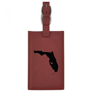 Florida-State Outline-Heart-Leatherette Luggage Tag -Burgundy