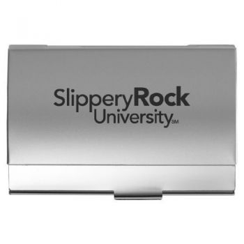 Slippery Rock University of Pennsylvania - Two-Tone Business Card Holder - Silver