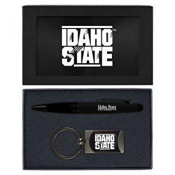 Idaho State University -Executive Twist Action Ballpoint Pen Stylus and Gunmetal Key Tag Gift Set-Black