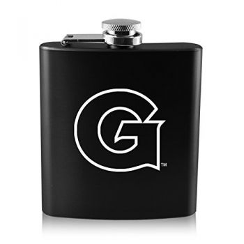 Georgetown University-6 oz. Color Stainless Steel Flask-Black