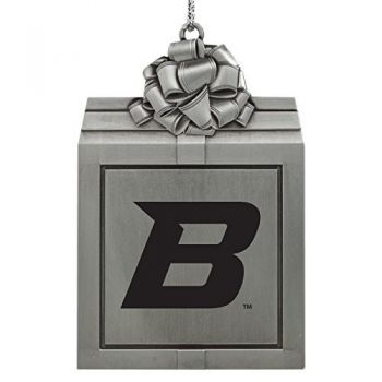 Boise State University -Pewter Christmas Holiday Present Ornament-Silver