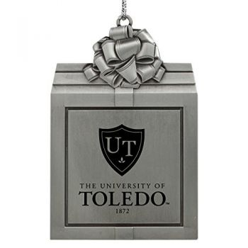 University of Toledo -Pewter Christmas Holiday Present Ornament-Silver