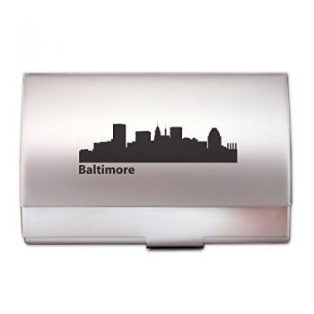 Baltimore, Maryland-Tone Business Card Holder-Silver