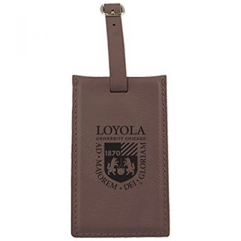 Loyola University Chicago -Leatherette Luggage Tag-Brown