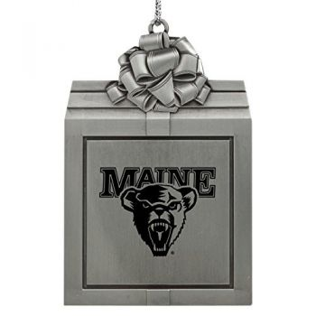 University of Maine-Pewter Christmas Holiday Present Ornament-Silver