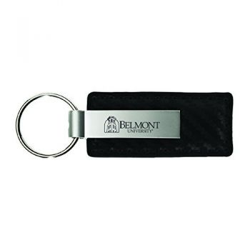 Belmont University-Carbon Fiber Leather and Metal Key Tag-Black