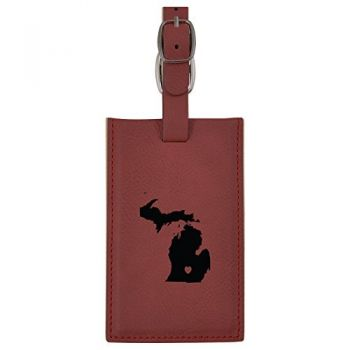Michigan-State Outline-Heart-Leatherette Luggage Tag -Burgundy