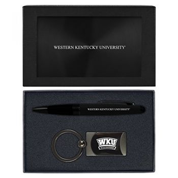 Western Kentucky University -Executive Twist Action Ballpoint Pen Stylus and Gunmetal Key Tag Gift Set-Black
