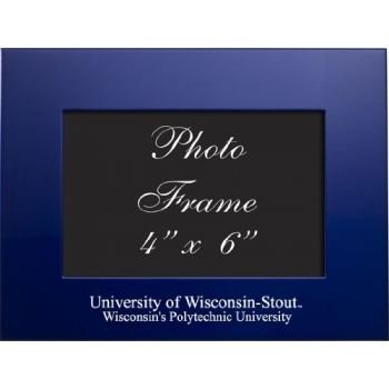 University of Wisconsin–Stout - 4x6 Brushed Metal Picture Frame - Blue