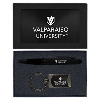 Valparaiso University-Executive Twist Action Ballpoint Pen Stylus and Gunmetal Key Tag Gift Set-Black