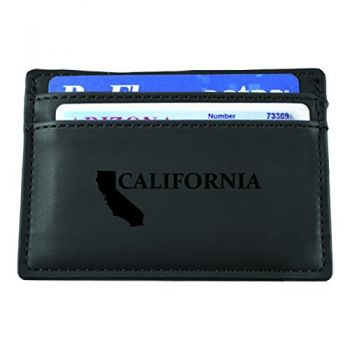 California-State Outline-European Money Clip Wallet-Black
